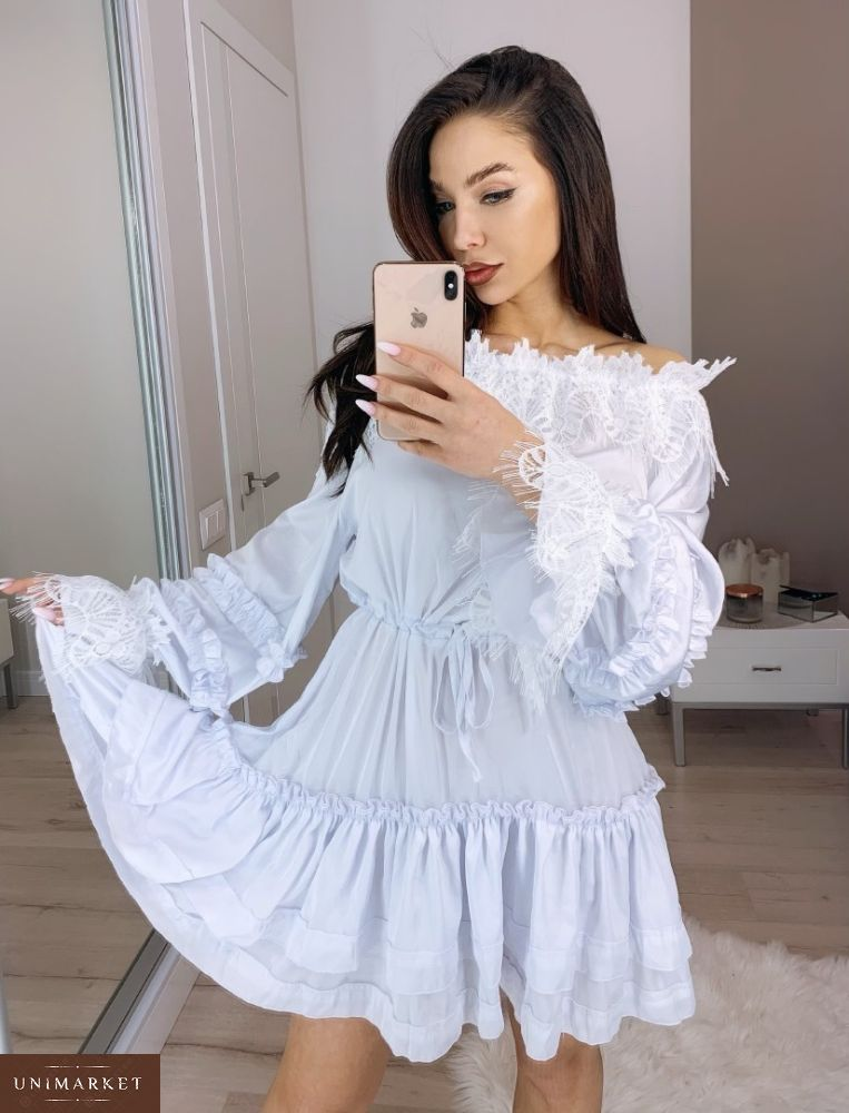 3a86b1050ddbf25 Купить дешево женское платье - туника из шелка армани декорировано  французским кружевом белого цвета недорого