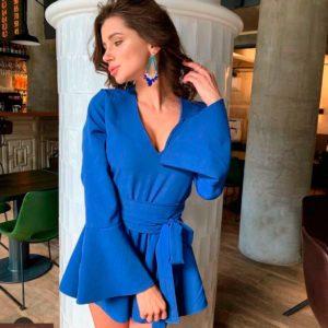 Заказать недорого женский комбинезон - шорты из крепа костюмного джинсового цвета в подарок