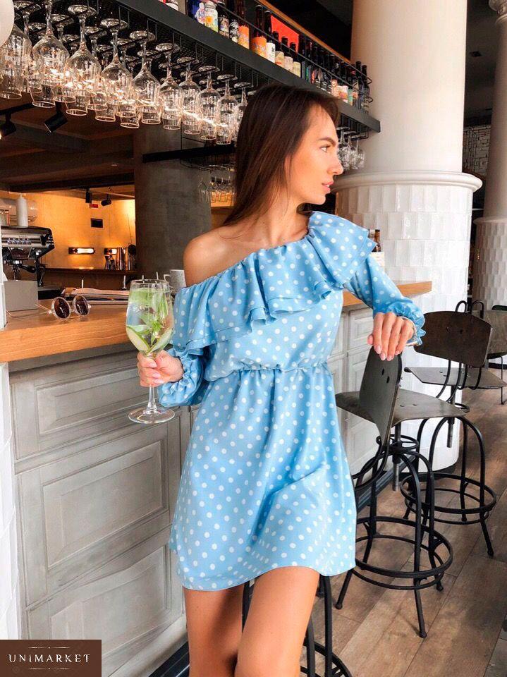 0af46a0266a Приобрести в подарок женское платье весеннее из супер софта с открытыми  плечами голубого цвета оптом Украина