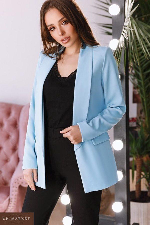 Заказать недорого женский пиджак на подкладке из турецкой креп-костюмки больших размеров нежно-голубого цвета в подарок