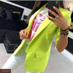 Купить в подарок женский пиджак из турецкой креп-костюмки на подкладке больших размеров неон-салатового цвета дешево