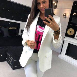 Заказать оптом женский пиджак на подкладке больших размеров из турецкой креп-костюмки цвета молока недорого