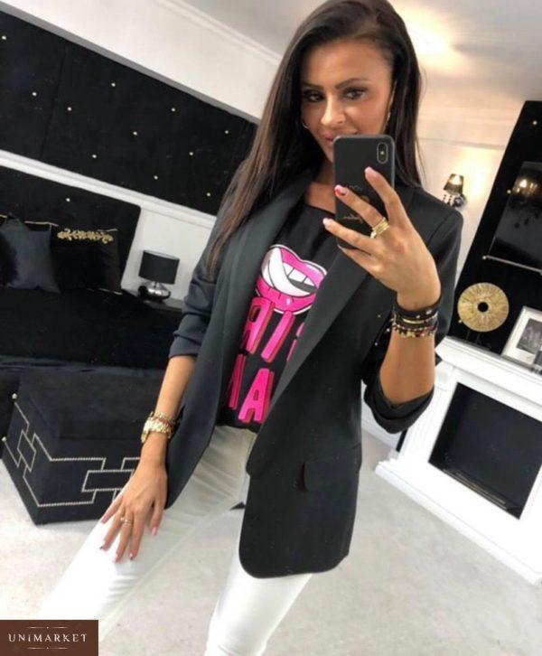 Приобрести женский черный пиджак на подкладке в подарок из турецкой креп-костюмки больших размеров