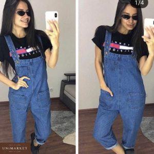 Заказать в подарок женский джинсовый комбинезон с широкими карманами синего цвета недорого
