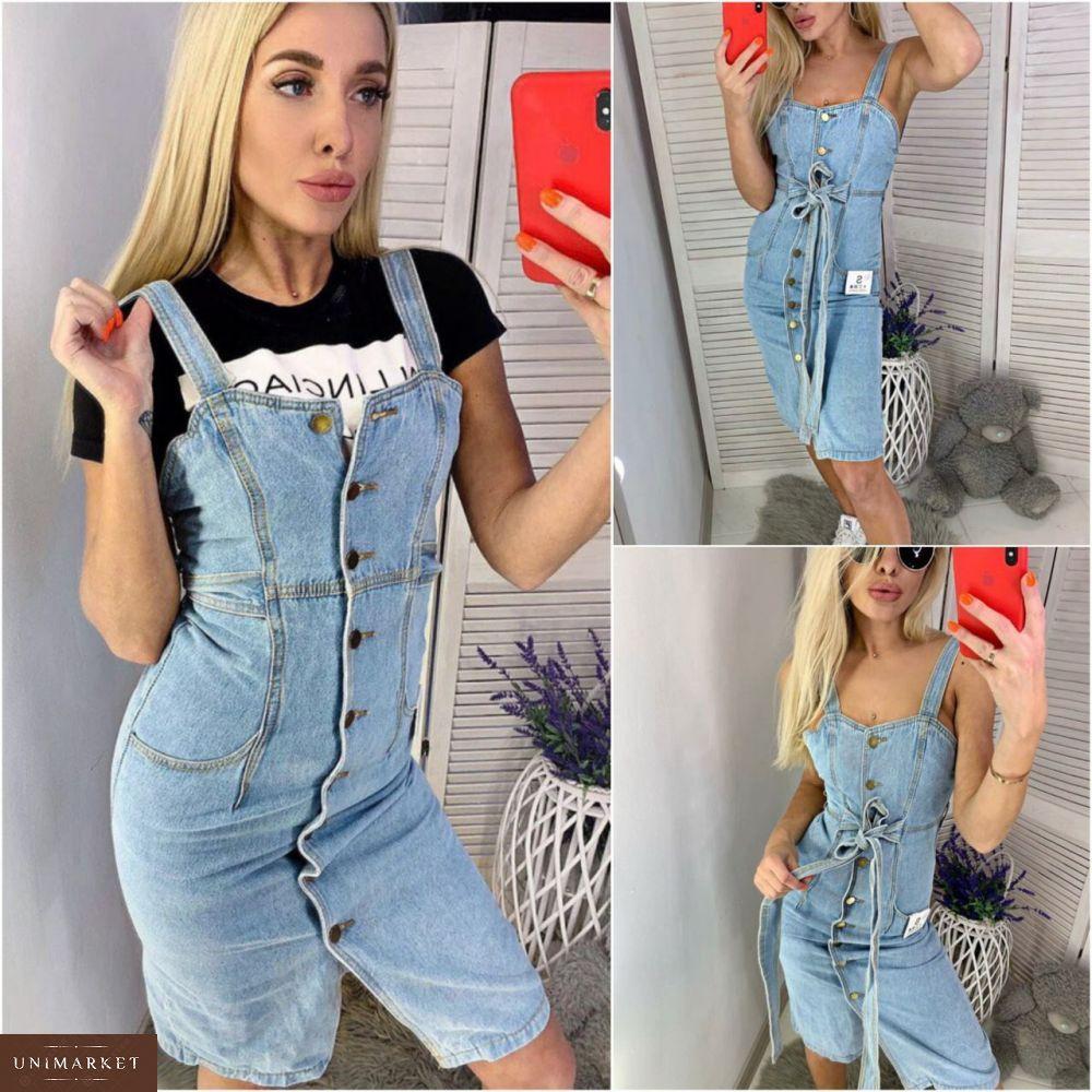 e5c38d1bb5dcc3 Купити дешево жіночий джинсовий сарафан з поясом синього кольору недорого ·  Придбати в подарунок жіночий сарафан з поясом джинсовий блакитного кольору  оптом ...
