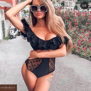Приобрести в интернет-магазине женский купальник в горошек из бифлекса с оборками и сеткой черного цвета дешево