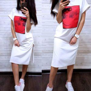Приобрести дешево платье женское с разрезами из креп-дайвинга по бокам больших размеров цвета молока оптом Украина
