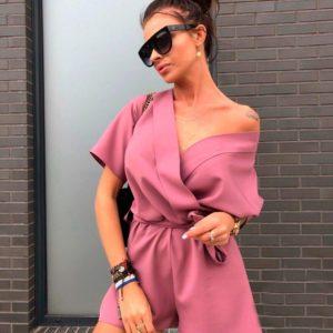 Заказать в интернет-магазине комбинезон шорты женские с плечами открытыми цвета пудры недорого