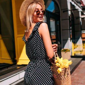 Приобрести в подарок женское платье летнее в горошек из софта цвета черного оптом Украина