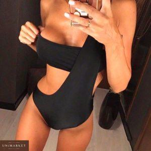 Приобрести дешево женский черный слитный из бифлекса купальник оптом Украина