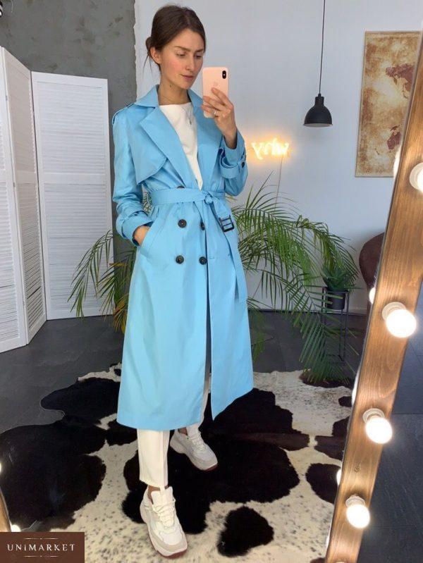 Заказать недорого женский тренчкот на подкладке двубортный с поясом голубого цвета тренч в подарок