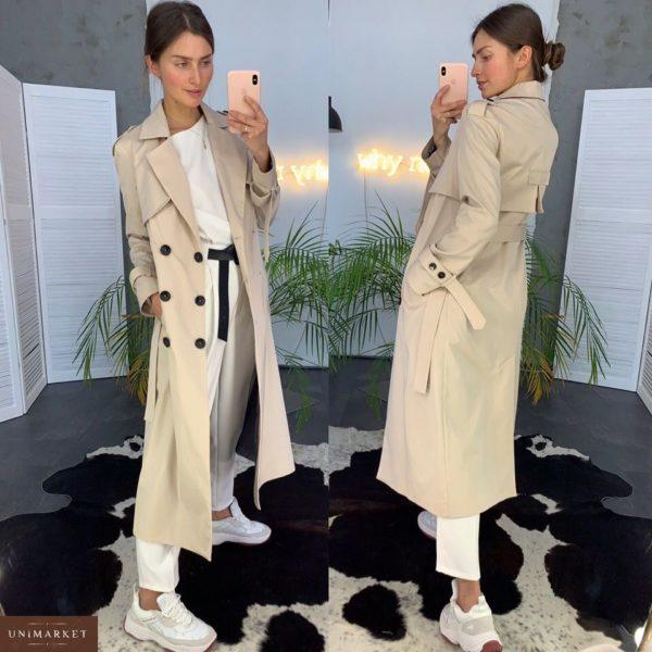 Купить дешево тренч женский двубортный тренчкот на подкладке с поясом цвета белого песка недорого
