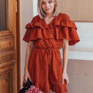 Приобрести в интернет-магазине женское платье с оборкой из креп шифона оранжевого цвета дешево
