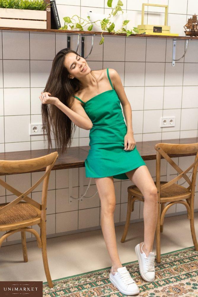 e82d9e305746cd Купити дешево жіночий літній сарафан з зав'язкою з стрейч льону  смарагдового кольору недорого
