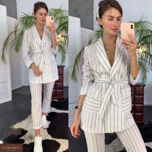 Заказать в подарок женский костюм из льна в полоску белую широкую недорого