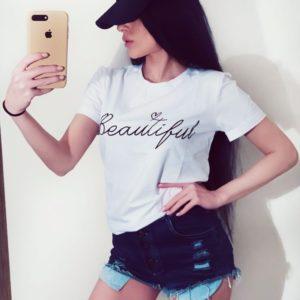Купить недорого женскую белую футболку с Beautiful надписью в подарок