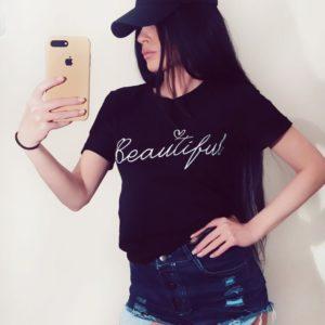Приобрести в интернет-магазине футболку женскую с надписью Beautiful цвета черного дешево