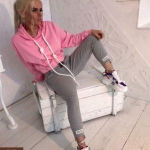 Купить в интернет-магазине летние женские трикотажные брюки серого цвета дешево