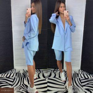 Заказать дешево летний женский костюм из костюмки с шортами и пиджаком голубого цвета недорого