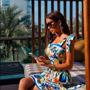 Заказать недорого женское платье из суперсофта с принтом больших размеров в подарок