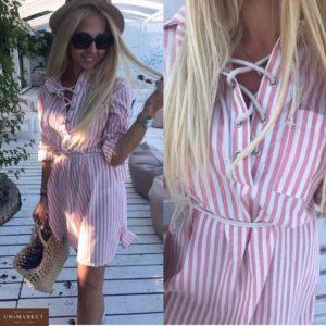 Заказать недорого женское льняное летнее платье с поясом и шнуровкой спереди розового цвета в подарок