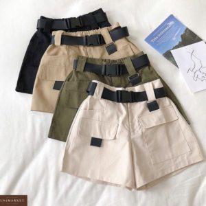 Заказать летние женские шорты в подарок карго в комплекте с поясом недорого