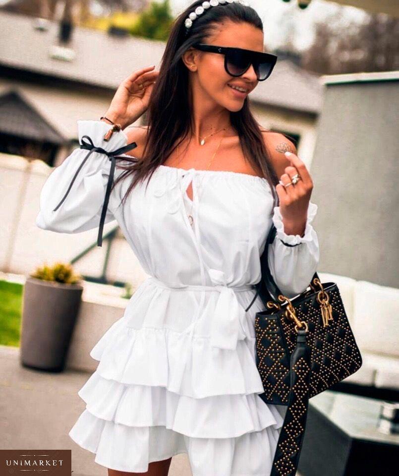 ccb93f06e3d35c Замовити в подарунок жіночу сукню вільного крою з рюшами з тканини софт  білого кольору недорого