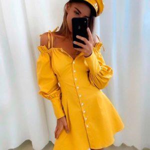 Приобрести в интернет-магазине женское платье со спущенными плечами из костюмной ткани и обьемными рукавами желтого цвета дешево