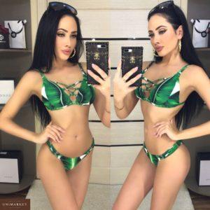 Купить дешево женский купальник зеленый с чашками недорого