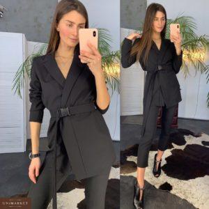 Заказать недорого женский брючный костюм из креп-костюмки черного цвета в подарок