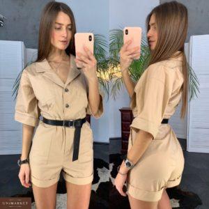 Приобрести дешево женский комбинезон летний из коттона с шортами цвета мокко оптом Украина