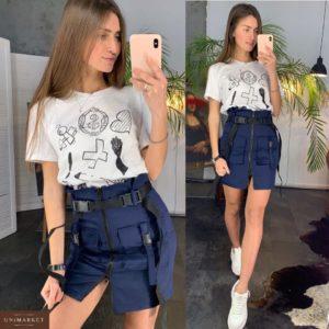 Купить дешево женскую юбку с поясом в комплекте из джинса темно-синего цвета недорого