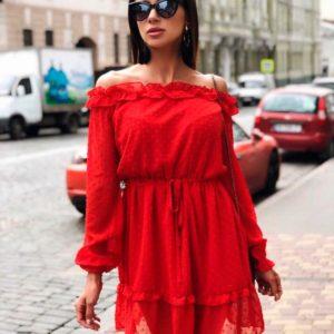 Заказать недорого женское платье с открытыми плечами из воздушного шифона в горошек красного цвета в подарок
