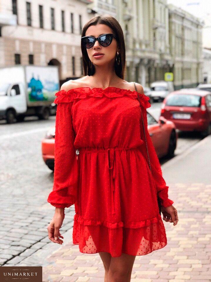 1792b0bdb215fe Замовити недорого жіноче плаття з відкритими плечима з повітряного шифону в  горошок червоного кольору в подарунок