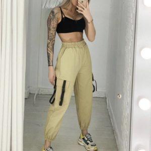 Заказать недорого женские брюки из коттона на резинке бежевого цвета в подарок