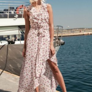 Заказать недорого женское длинное платье из шифона с поясом в подарок