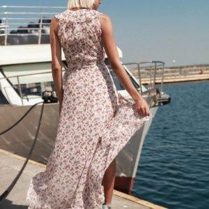 Приобрести дешево женское платье длинное с поясом из шифона оптом Украина