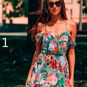 Приобрести дешево женское платье из шифона на бретельках летнее с цветочным принтом оптом Украина