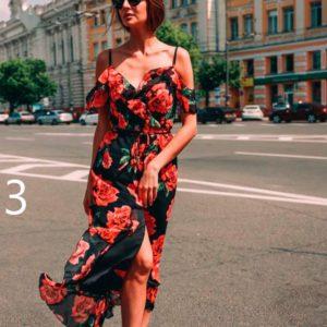 Заказать дешево женское платье миди с рюшами на плечах из софта недорого