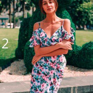 Приобрести в интернет-магазине женское миди платье из софта на плечах с рюшами дешево