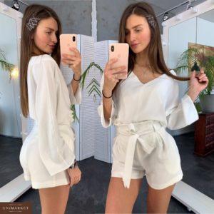 Приобрести дешево шорты женские с талией высокой из костюмки молочного цвета оптом Украина