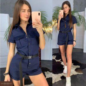 Купить в интернет-магазине джинсовый женский комбинезон темно-синего цвета - шорты с поясом недорого