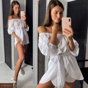 Заказать недорого женский комбинезон - шорты с открытыми плечами из коттона белого цвета в подарок