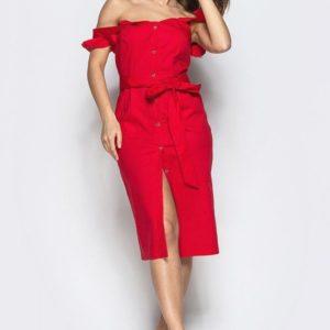 Заказать недорого женский легкий сарафан из коттона на бретелях с оборками красного цвета в подарок