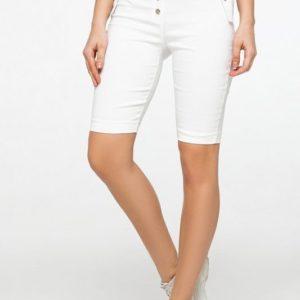 Заказать недорого женские шорты - велосипедки с карманами обманками белого цвета в подарок