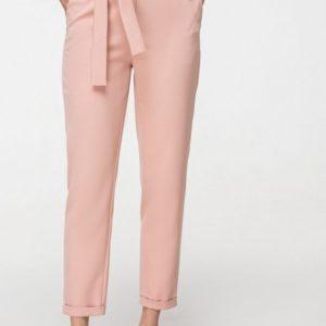 Купить в интернет-магазине летние женские брюки цвета пудры с боковыми карманами и поясом недорого
