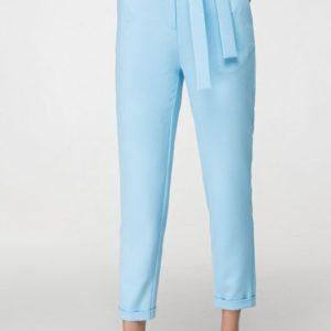 Приобрести дешево женские брюки летние с карманами боковыми и поясом голубого цвета оптом Украина