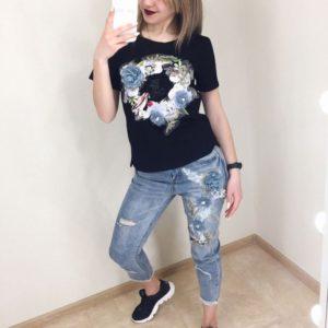 Приобрести дешево женский костюм летний: футболка + джинсы из коттона с надписью черный верх оптом Украина