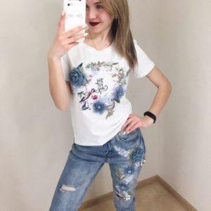 Заказать недорого женский летний костюм: джинсы + футболка с надписью из коттона белый верх в подарок