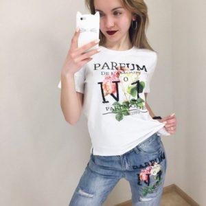 Заказать недорого женский костюм: джинсы + футболка с принтом из коттона белый верх в подарок